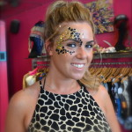 Kiss My Fairy chunky glitter eye and leopard face paint design