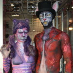 Alice in wonderland body paint cheshire cat and the white rabbit Ibiza